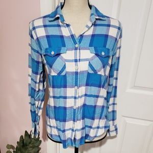 American Eagle Outfitters AEO blue flannel shirt